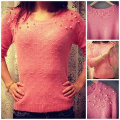 Super cute pink sweater with gold spikes <3