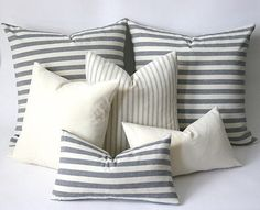 Woven Navy & Cream French Ticking Stripe Pillow cover