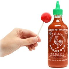 Sriracha Rooster Sauce Lollypops  http://www.geekalerts.com/sriracha-rooster-sauce-lollipops/