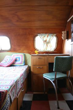Love the birch in this vintage camper
