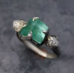 Raw sea green Tourmaline Diamond White Gold Engagement Ring Wedding Ring One Of a Kind Gemstone Ring Bespoke Three stone Ring byAngeline by byAngeline on Etsy