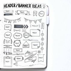 13 Bullet Journal Header and Banner Ideas To Try Out - Bullet Journal Cleaning, Bullet Journal Titles, Bullet Journal Banner, Bullet Journal Tracker, Bullet Journal Spread, Bullet Journals, Bullet Journal Headers And Banners, Tombow Brush Pen, Header Banner