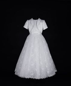 Vintage Lace Communion Dress - Sleeveless Shimmering Beaded Lace and Satin - Pandora - New 2015 - Isabella 83GA3541 - Girls First Communion Dress