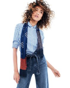 J.Crew Looks We Love: women's club-collar boy shirt in textured jacquard stripe, Rayner wide-leg jean with tie and lightweight silk scarf in printed navy patchwork.
