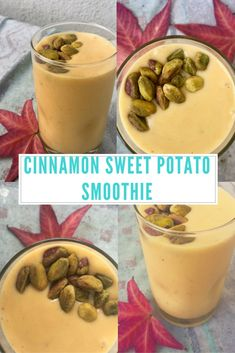 This cinnamon sweet potato smoothie is a perfect way to use up extra cooked sweet potato.  Just throw it into your healthy smoothie recipe! #smoothie
