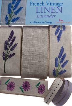 French Vintage Linen  Lavender   Rare & Limited by DesignerRibbons