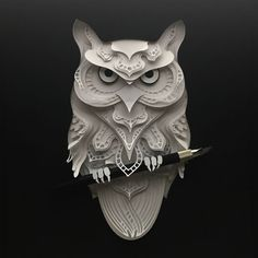 Delicate Papercut Art on Velum Board by Patrick Cabral 3d Paper Art, Paper Owls, 3d Paper Crafts, Paper Artwork, Foam Crafts, Origami Paper Art, Paper Quilling, Kirigami, Paper Cutting