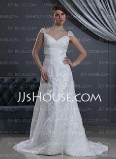 Wedding Dresses - $136.99 - A-Line/Princess V-neck Court Train Organza Satin Wedding Dress With Lace Beadwork (002012040) http://jjshouse.com/A-Line-Princess-V-Neck-Court-Train-Organza-Satin-Wedding-Dress-With-Lace-Beadwork-002012040-g12040