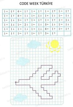 Code Teaching Activities, Activities For Kids, Computational Thinking, Graph Paper Art, Coding For Kids, Toddler Learning, Kids Corner, Home Schooling, Math Worksheets