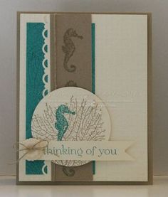Holly's seahorse card is so pretty! She used By the Tide & Sweet Essentials with a Very Vintage button.