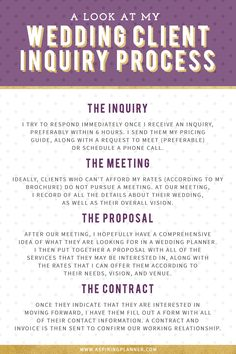 A Look at My Wedding Client Inquiry Process on Aspiring Planner, an online resou. - A Look at My Wedding Client Inquiry Process on Aspiring Planner, an online resource for aspiring an - Planning School, Event Planning Checklist, Event Planning Business, Business Events, Wedding Planning Tips, Budget Wedding, Wedding Tips, Trendy Wedding, Business Tips