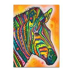 "Trademark Art 'Zebra' by Dean Russo Painting Print on Canvas Size: 32"" H x 26"" W x 2"" D"