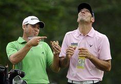 Funny! Alvaro Quiros and Sergio Garcia goofing around #golf #usopengolf2011