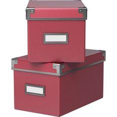 IKEA KASSETT Box with lid, dark pink ($3.99) ❤ liked on Polyvore