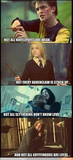 So true! I imagine myself as a Ravenclaw, but I'm not stuck up at all (and probably not that smart). That or maybe even Hufflepuff because I am extremely loyal, but I don't think I'm weak. I don't think I would be a Gryffindor because I'm not that brave. I am DEFINITELY not a Slytherin! Ravenclaw or Hufflepuff for me!