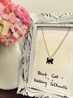 Black Cat Walking Sihouette Necklace Cute Cat by CoralDivaCo