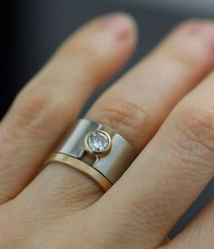 Moissanite lunar eclipse wide band alternative by lolide on Etsy