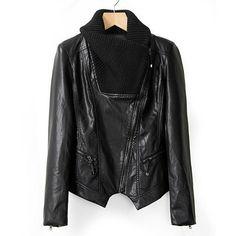 Faux Leather Kint Turn-Down Collar Long Sleeve Stylish Women's Jacket #women, #men, #hats, #watches, #belts, #fashion, #style