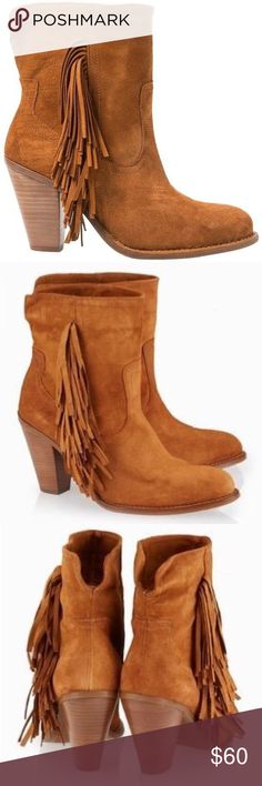 MANGO Twin C Fringe Ankle Boots Complete your winter look by wearing these brown boots from MANGO. Featuring a suede leather upper and synthetic lining, these boots are durable and comfortable to wear. Voguishly designed, these boots will look best when teamed with short dresses and jeans. Heel is about 3.5 inches. Brand new with tags! Mango Shoes Ankle Boots & Booties