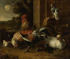Melchior d' Hondecoeter   Poultry Yard, Melchior d' Hondecoeter, c. 1660 - c. 1665   Hoenderhof met een haan omringd door enkele kippen en kuikens. Rechts zit een duif op een steen. Links op de achtergrond een vijver met eenden.