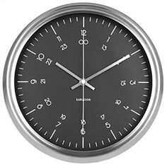 Karlsson Nautical Wall Clock - Black and Stainless Steel