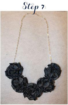 Linen, Lace, & Love: DIY: Pom-Pom Necklace out of Old Jeans #DIY #Crafts #pompomnecklace #oldjeans