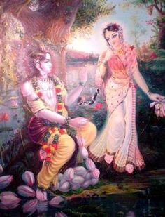 Sweet Krishna is making a lotus garland for his beloved Radharani