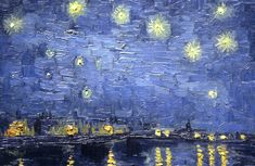 Detail from Vincent van Gogh's Starry Night Over the Rhone In this week's creativity challenge we look up to the night sky, a source. Art Van, Vincent Van Gogh, Forest Art, Post Impressionism, Fantastic Art, Night Skies, Photo Art, Modern Art, Artsy