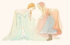 Anna and Elsa in each other's clothes