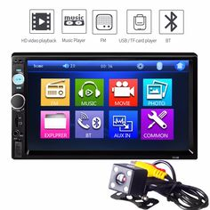 Rectangl Universal 7' Car Multimedia Player Bluetooth Touch Screen MP5 Player Support DVD Format TF USB FM Radio Media Player