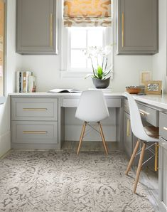 Inspired by vintage oriental rugs, this soft, washed look pairs well with Fret Me Not. | La Di Da - Grey Kids Office, Home Office Space, Home Office Design, Home Office Decor, Home Interior Design, Home Decor, Office Ideas, Apartment Office, Small Space Office