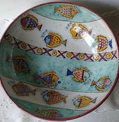 Ciotola / Spaghettiera / Insalatiera in ceramica dipinta a mano.Decoro Pesci