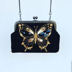 Купить сумочка Золотой махаон - черный клатч, оригинальный клатч, ридикюль…