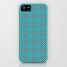 Chequered Blue iPhone & iPod Case by Alice Gosling - $35.00 Available as Galaxy S4, iPhone 5, 5S, 5C, 4S, 4, 3GS, 3G, & the iPod Touch  #iphone #phonecase #Samsung #Galaxy #blue #pattern #circles #shapes #illusion