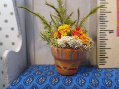 OOAK 1:12 scale Dollhouse Miniature clay Potted by DogMaCreations