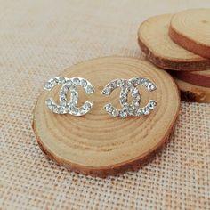 Pendientes Cristalinos de la manera de Corea logo Geometría Joyería Brincos Bijoux Pendientes de Plata para Las Mujeres de La Boda con la caja de regalo A1