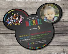 Personalized MICKEY MOUSE CLUBHOUSE Invite Mouse Head Shaped Chalkboard Birthday Party Invitation Printable Digital File with Child's Photo