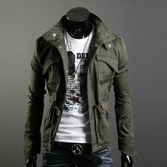 Mens Casual Army Coat Parka Jacket Trench Outwear Military Windbreaker  Overcoat In Clothing, Shoes U0026 Accessories, Menu0027s Clothing, Coats U0026 Jackets