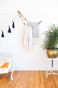 DIY Minimal Beaded Blanket Holder | Sugar & Cloth