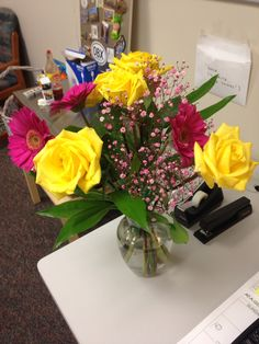 Yellow and pink roses with pink baby's breath. For Administrative Assistant Day! Administrative Assistant Day, Baby's Breath, Pink Roses, Yellow, Flowers, Royal Icing Flowers, Flower, Florals, Floral