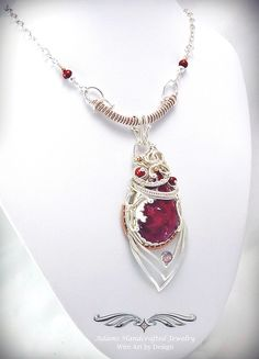 """""""Ava"""" -- New Red Opal & Welo Opal Necklace in 14k Rose GF & .999 Fine Silver w/ red freshwater pearls. Original design by Daryl Adams."""