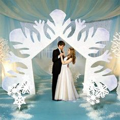 Use a snowflake arch in your photo area or for the Grand March for your Frozen Prom Theme