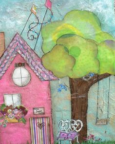 Home Sweet Home Pink Cottage Original Mixed Media Collage Mixed Media Collage, Mixed Media Canvas, Collage Art, Mix Media, Art Journal Inspiration, Journal Ideas, Art Journal Pages, Art Journals, Whimsical Art