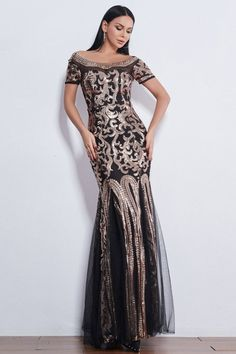 Short Sleeves Gold Sequins Prom Dress Long Mermaid Evening Gowns Sweet 16 Dresses, Sweet Dress, Party Dresses For Women, Affordable Prom Dresses, Prom Dresses Online, Homecoming Dresses, Evening Dresses With Sleeves, Cheap Evening Dresses, Evening Gowns