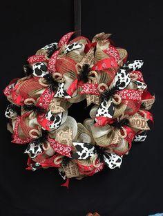 Cowboy Wreath, Rodeo Wreath, Burlap Rodeo Wreath, Cow Print Wreath, Natural Red Black White Wreaths by wreathsbyrobin on Etsy https://www.etsy.com/listing/240728311/cowboy-wreath-rodeo-wreath-burlap-rodeo