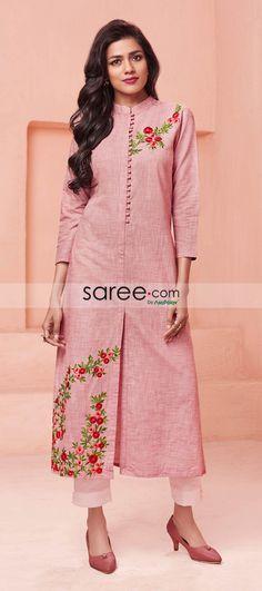 Pink Cotton Kurti with Thread Work Plain Kurti Designs, Silk Kurti Designs, Salwar Neck Designs, Churidar Designs, Kurta Neck Design, Kurta Designs Women, Kurti Designs Party Wear, Blouse Designs, Kurti Sleeves Design