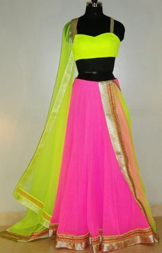 Latest Lehenga Choli Trends Designs Collection which consist of best designs & styles of party, formal & wedding wear Anarkali, jacket lehenga, Neon Outfits, Neon Dresses, Party Wear Dresses, Indian Attire, Indian Outfits, Indian Clothes, Indian Wear, Lehnga Dress, Lengha Choli