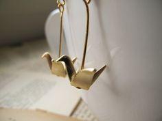 Paper Crane Earrings by itsastitch