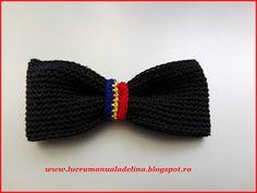 lucru manual adelina: Papion crosetat negru cu tricolor in mijloc