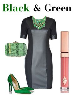 Black & Green by tubino-skirts-dresses onhttp://tubino.nl/shop/kokerjurken/coco-black-dress-2/  featuring mode, Jimmy Choo, La Fille Des Fleurs, Charlotte Tilbury, black, dress and leatherlook